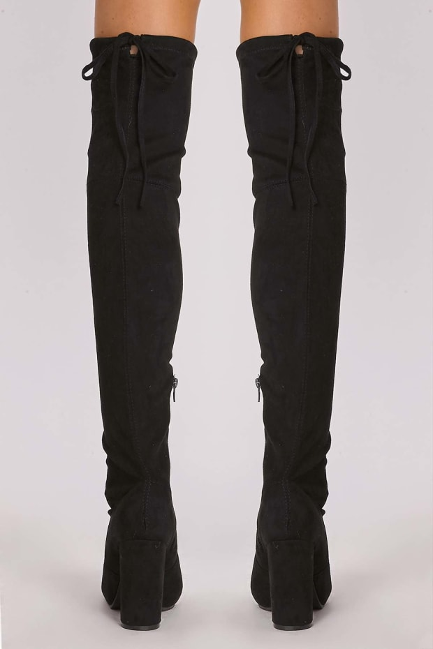 b8a18a917f9 REMI BLACK FAUX SUEDE OVER THE KNEE HEELED BOOTS. 1
