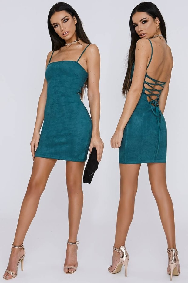 SARAH ASHCROFT EMERALD GREEN LACE UP FAUX SUEDE MINI DRESS