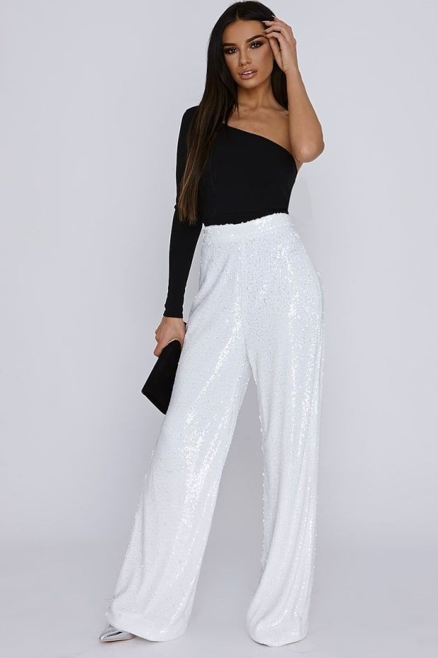 SARAH ASHCROFT TALL WHITE SEQUIN PALAZZO TROUSERS