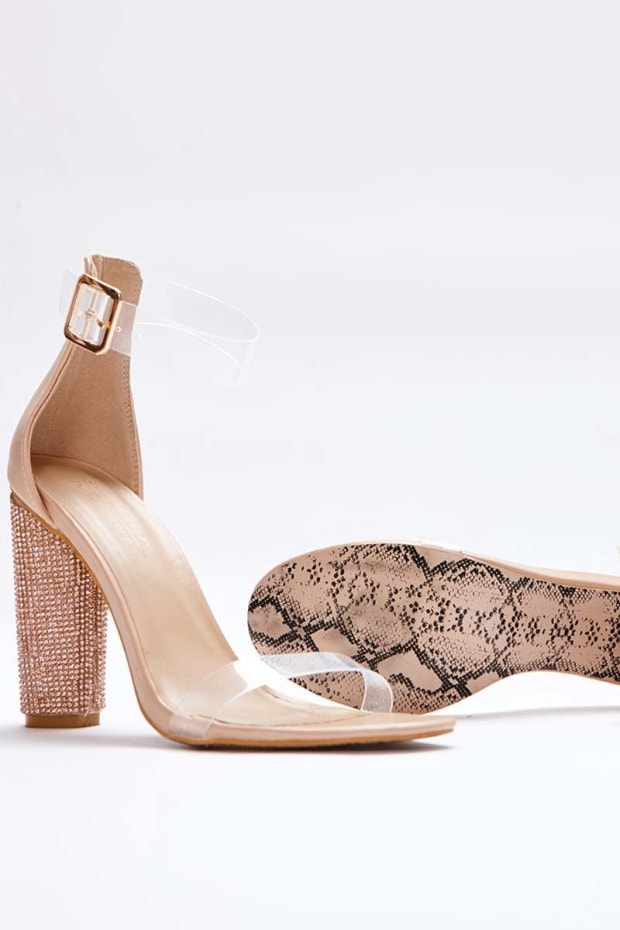 SARAH ASHCROFT NUDE FAUX LEATHER CLEAR STRAP DIAMANTE BARELY THERE HEELS