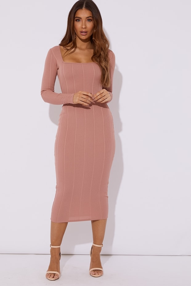8b1a0294a7d Rafferty Blush Bandage Square Neck Midaxi Dress