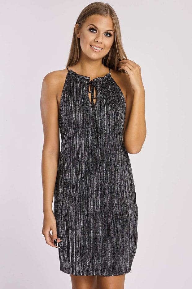 SHANAYA METALLIC BLACK SATIN PLEATED HIGH FRILL NECK DRESS