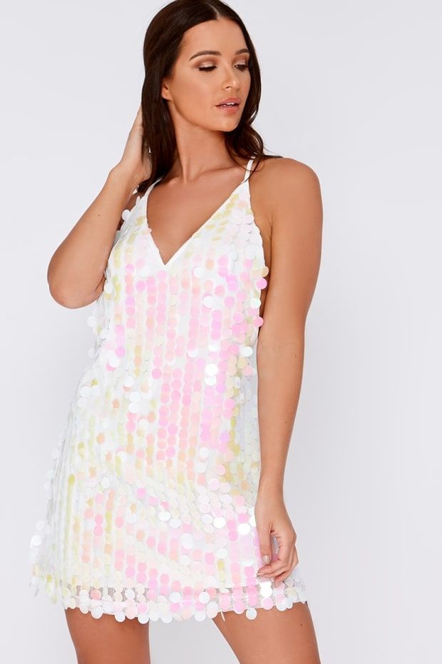 GIORGIA WHITE IRIDESCENT SEQUIN PLUNGE DRESS