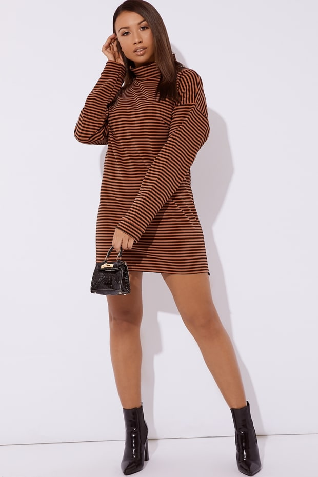 55e3c76a80 DOCIE RUST STRIPE SLOUCHY HIGH NECK MINI DRESS. Next