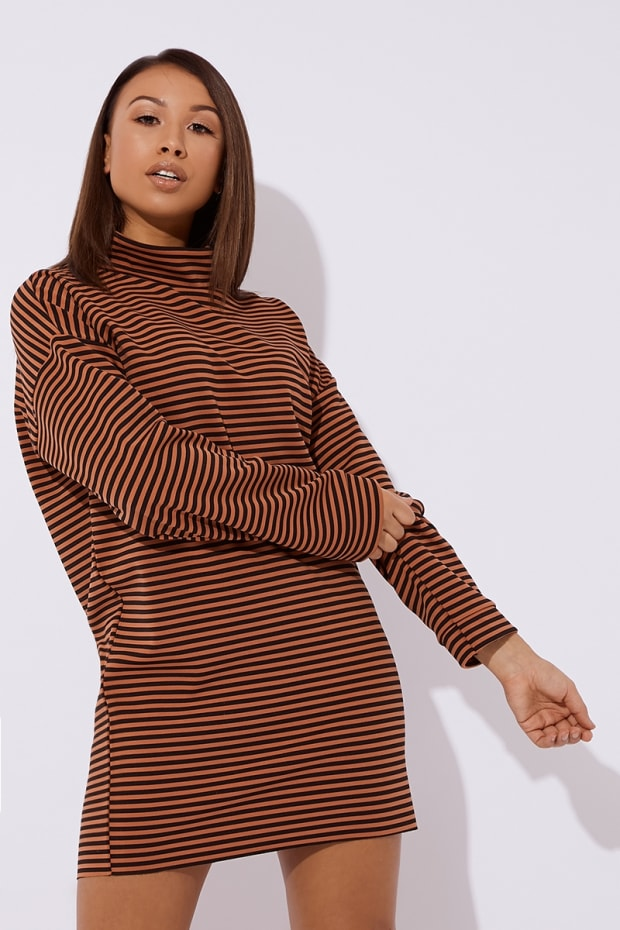 193f46bacb DOCIE RUST STRIPE SLOUCHY HIGH NECK MINI DRESS. Previous