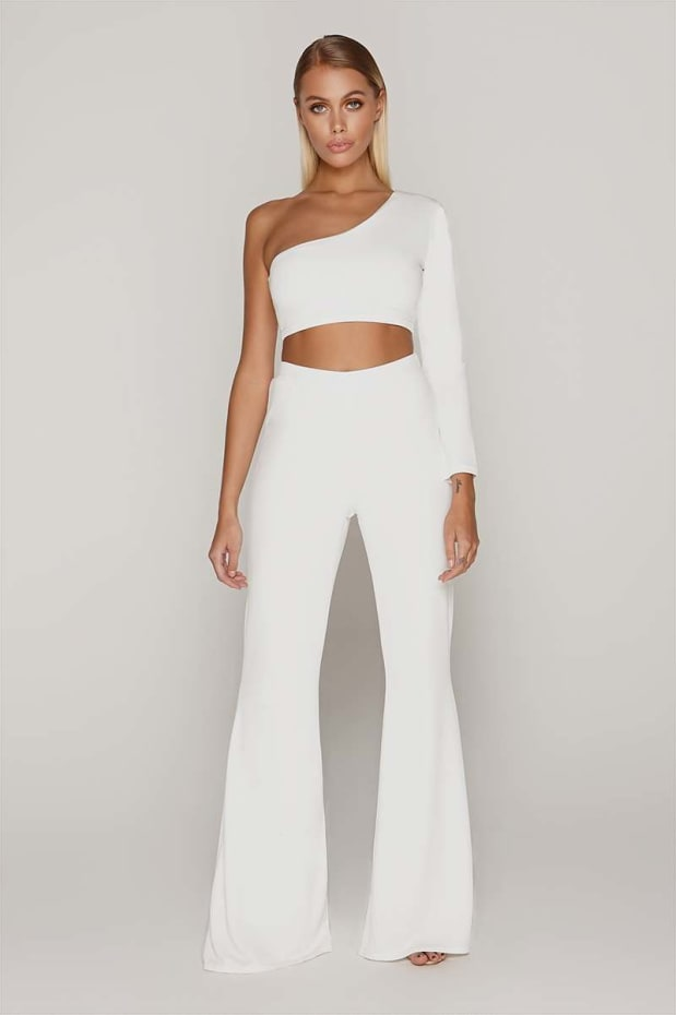 TAMMY HEMBROW WHITE WIDE LEG TROUSERS