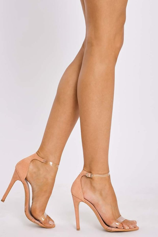 CARLEY PEACH FAUX SUEDE CLEAR STRAP BARELY THERE HEELS