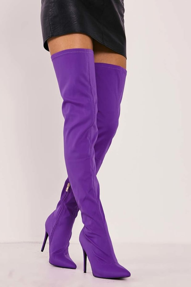 RABIA PURPLE LYCRA SOCK OVER THE KNEE HEELED BOOTS