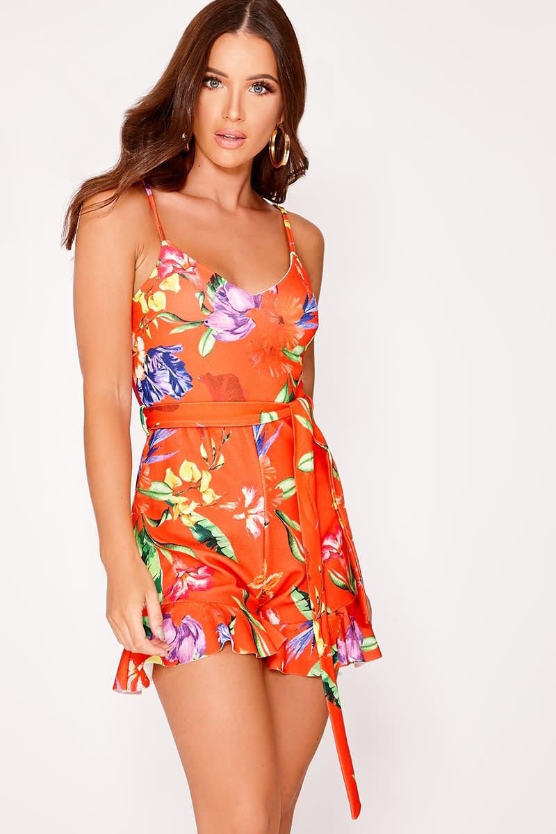 60ea35b44448 Melana Orange Floral Print Belt Playsuit