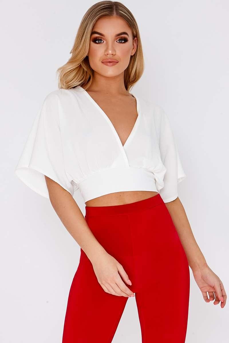 05386b5d9fd6d5 Naiya White Kimono Sleeve Tie Back Crop Top