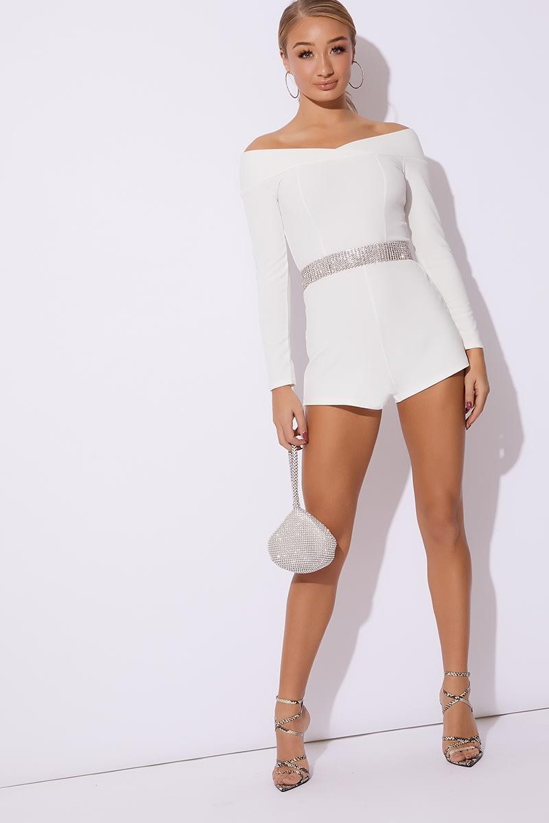 7407c4e2bd5 Cara White Long Sleeve Bardot Playsuit