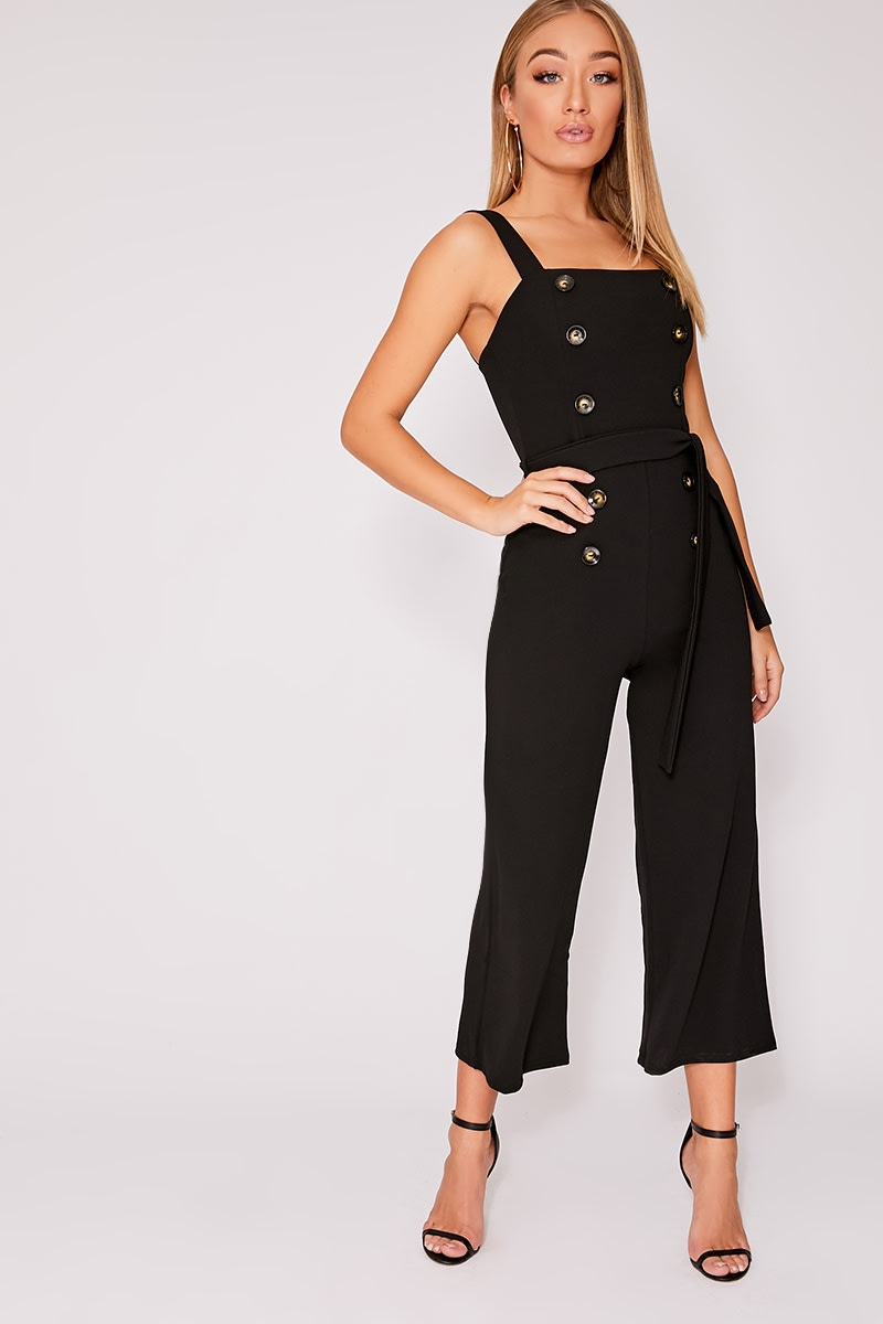 f2fbb33c91b9 Breanna Black Horn Button Culotte Jumpsuit