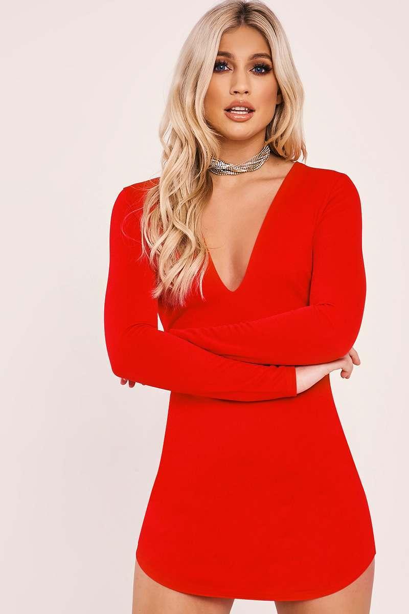 Amiya Red Long Sleeve Plunge Mini Dress  434b667ed