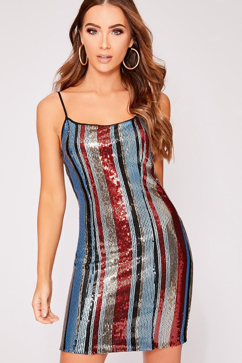 e73d0364f8 Dua Red Striped Sequin Bodycon Dress