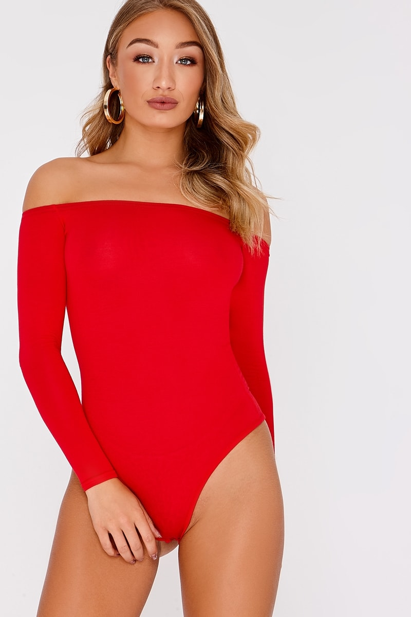 fda7e902ba3884 Basic Red Long Sleeve Bardot Bodysuit