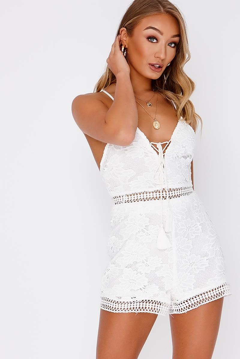 2d9696f7de92 Aishla White Crochet Lace Plunge Playsuit