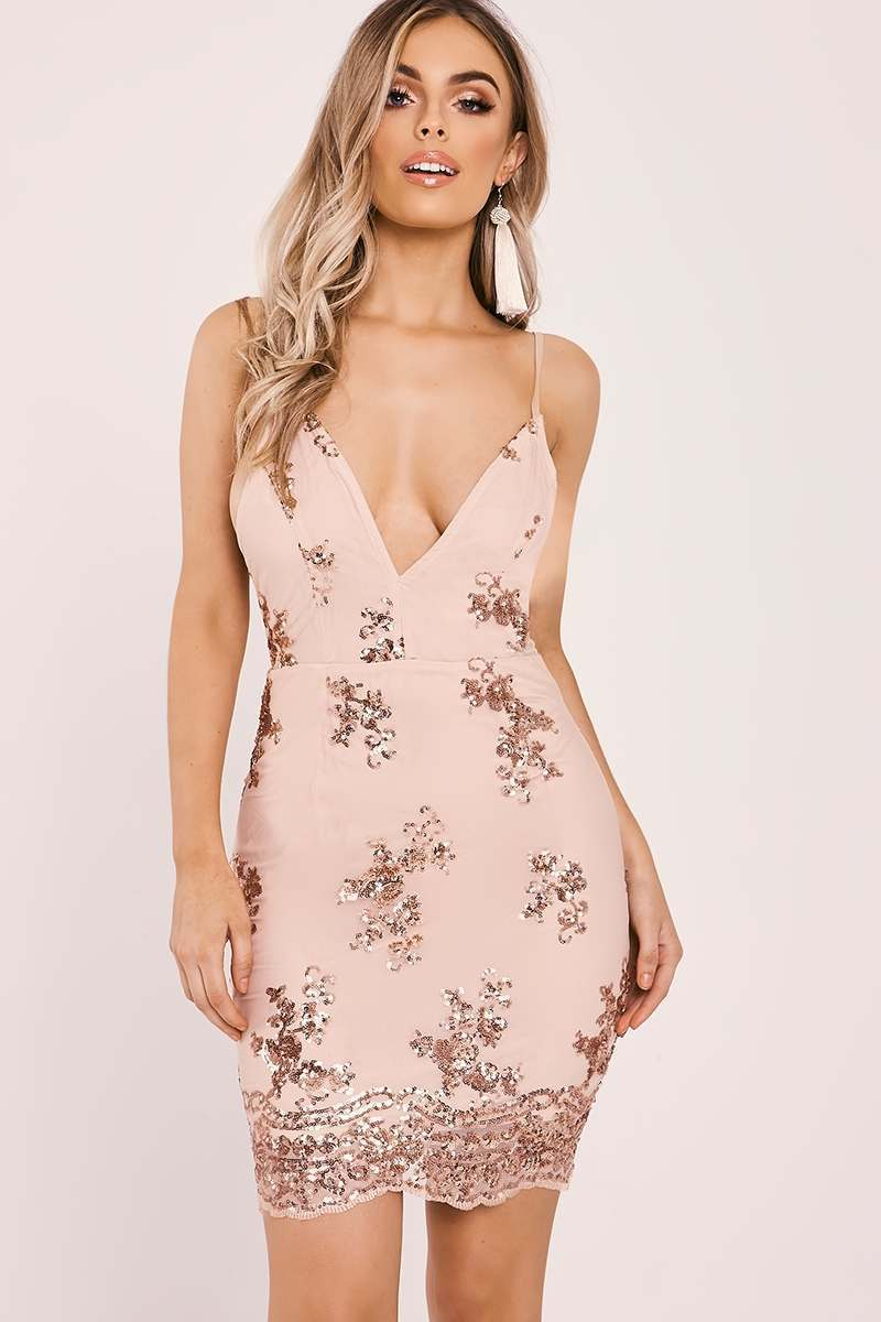 Dalis Rose Gold Sequin Floral Bodycon Dress  efa769bec