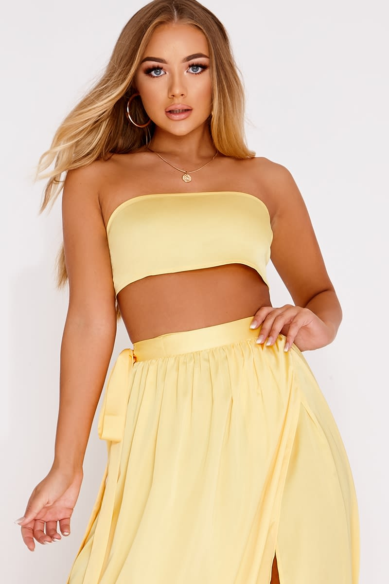 a1b0689b7bda7 Billie Faiers Yellow Satin Bandeau Crop Top