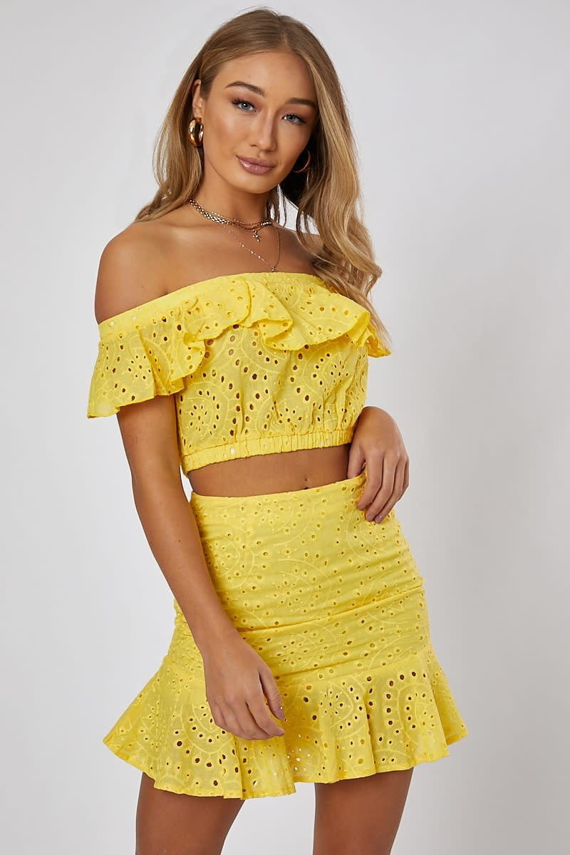 381a18ce8a874c Nilly Yellow Frill Detail Bardot Crop Top