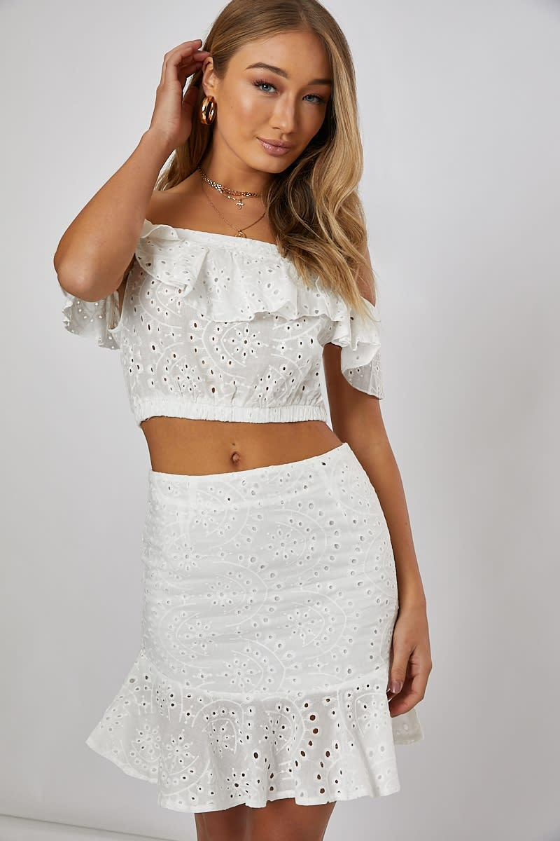 8ece3a2f11 Nilly White Frill Detail Bardot Crop Top