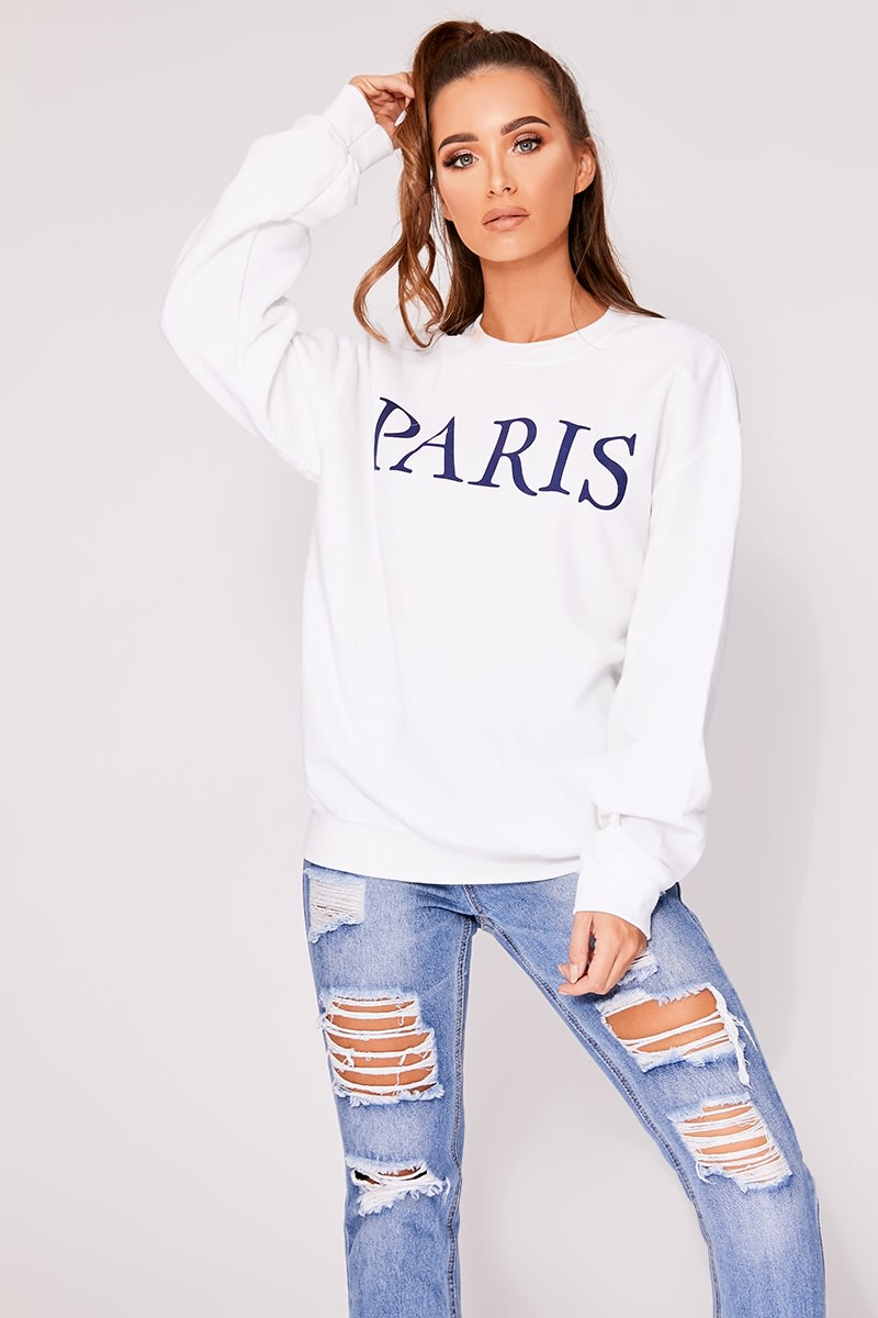 fcfea054f4 Kiara White Paris Slogan Oversized Sweater