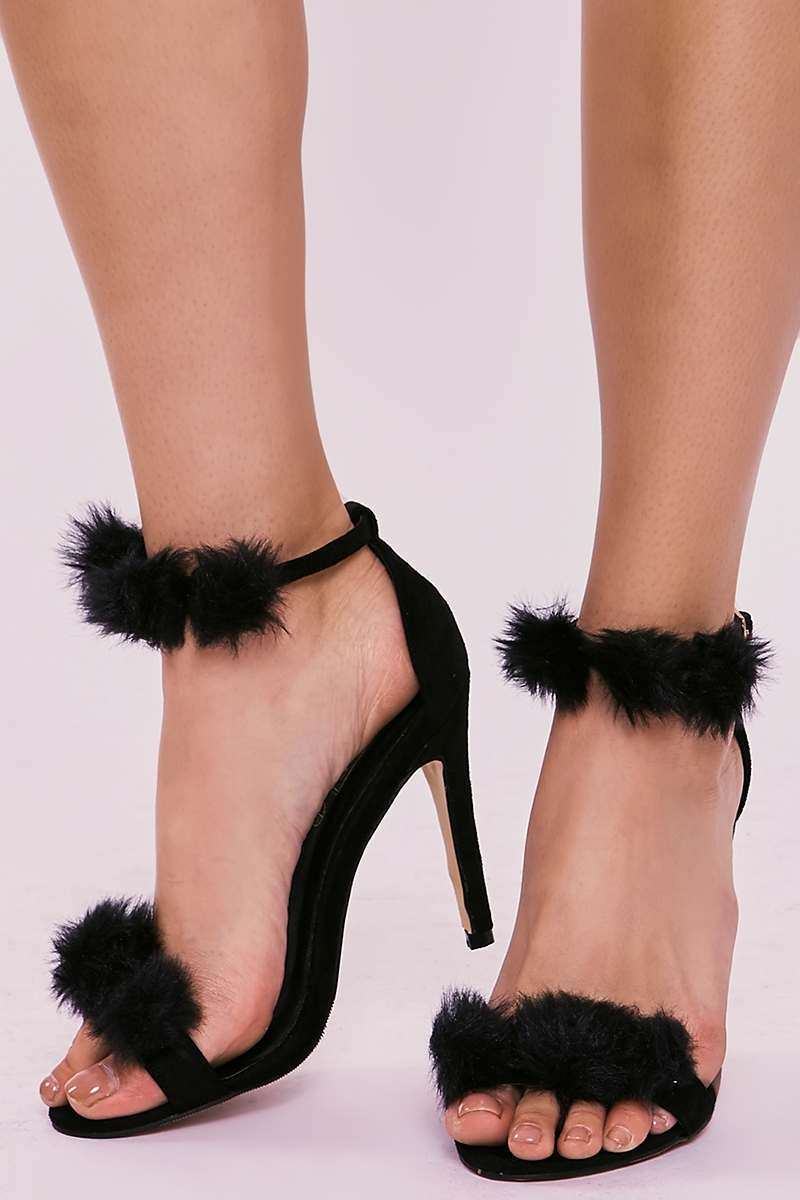 6e15a5a9bc4 Sage Black Faux Fur Pom Pom Barely There Heels