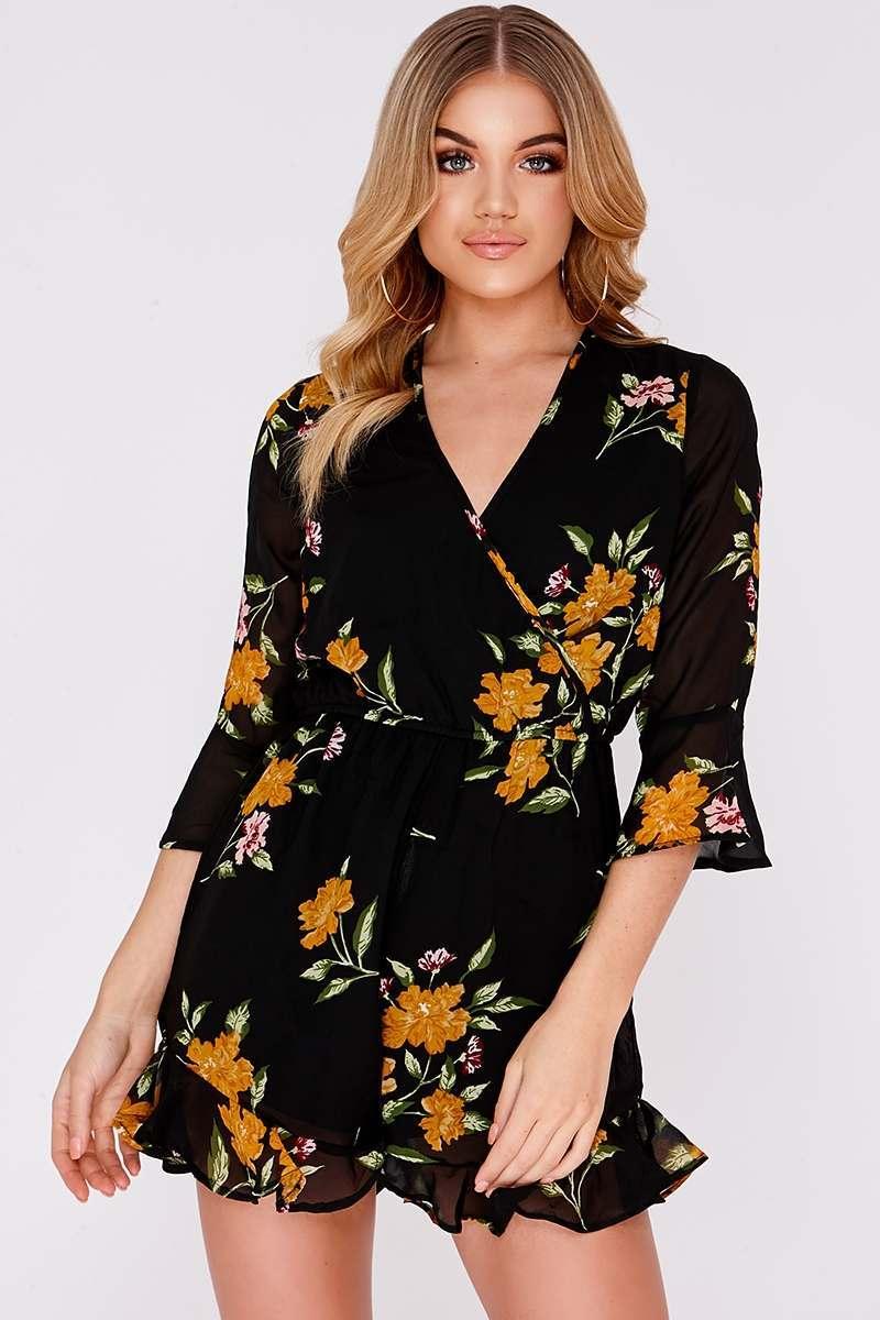 89833de7f7a6 Viki Black Floral Wrap Over Playsuit