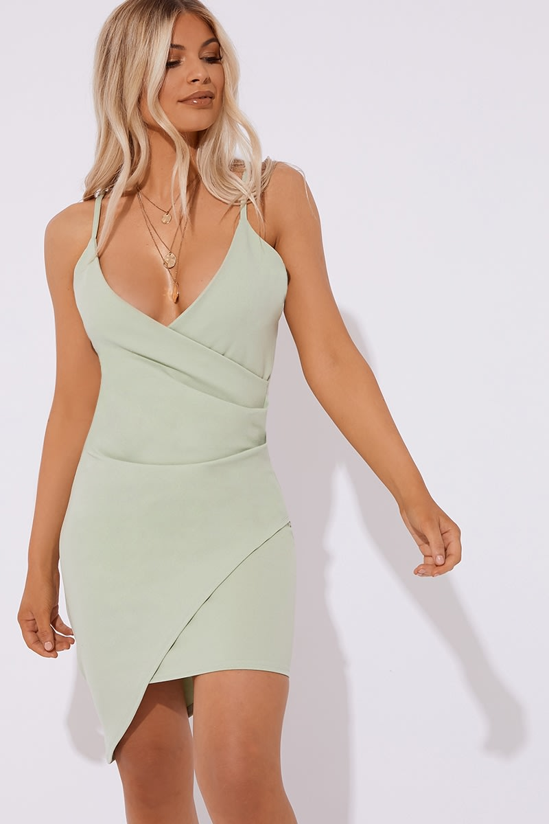 6e3dcba072 Caelli Sage Green Ruched Front Mini Dress