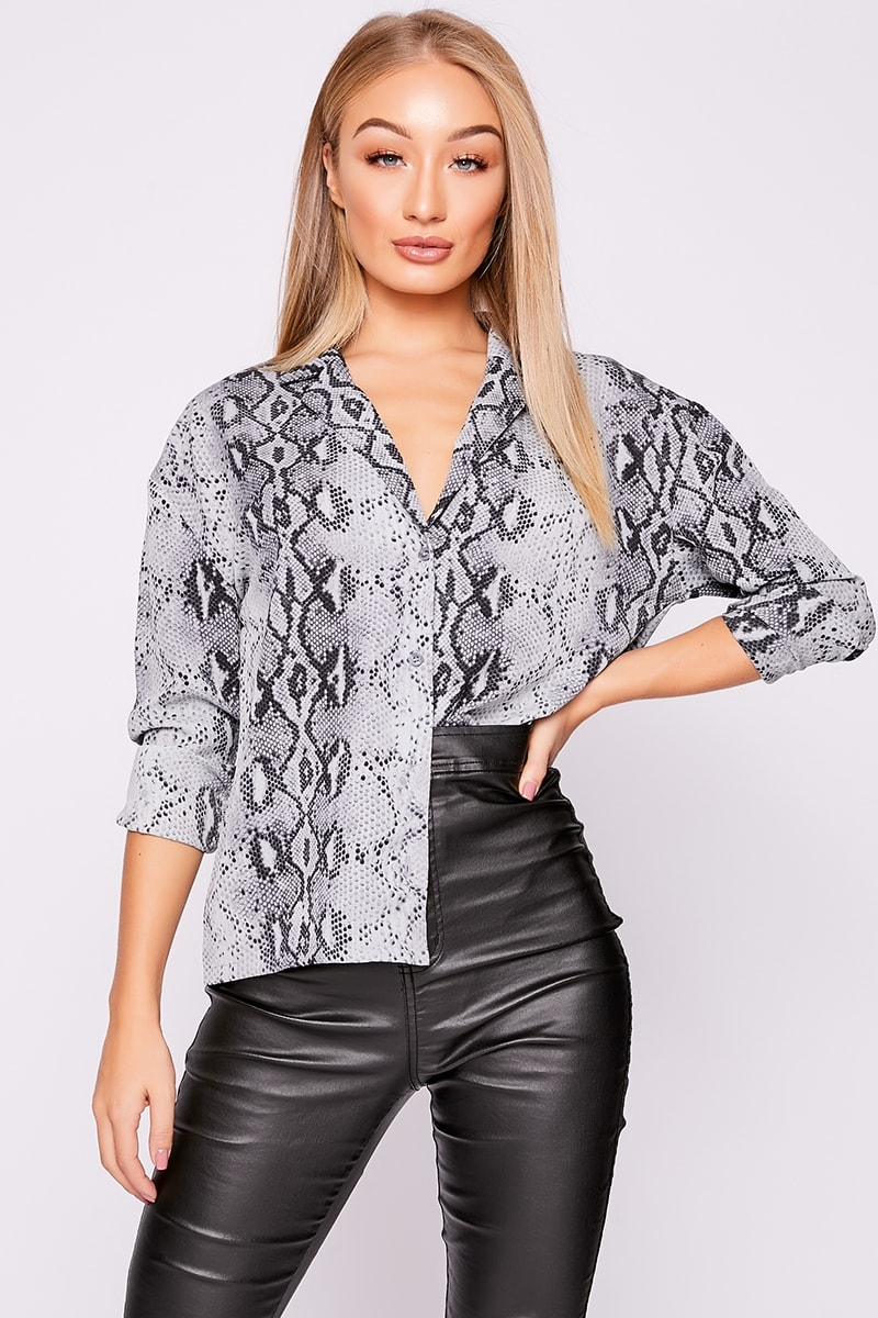 cf024e40d02 Mikala Grey Snake Print Shirt