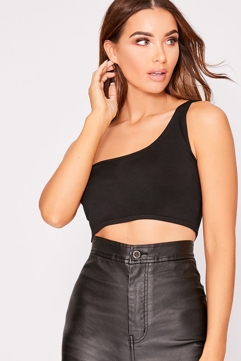 3d23bb2d31c7f Basic Black One Shoulder Crop Top