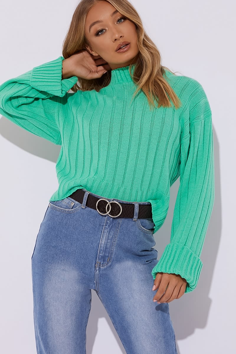 866a79716e Adinia Green Ribbed High Neck Slouchy Jumper