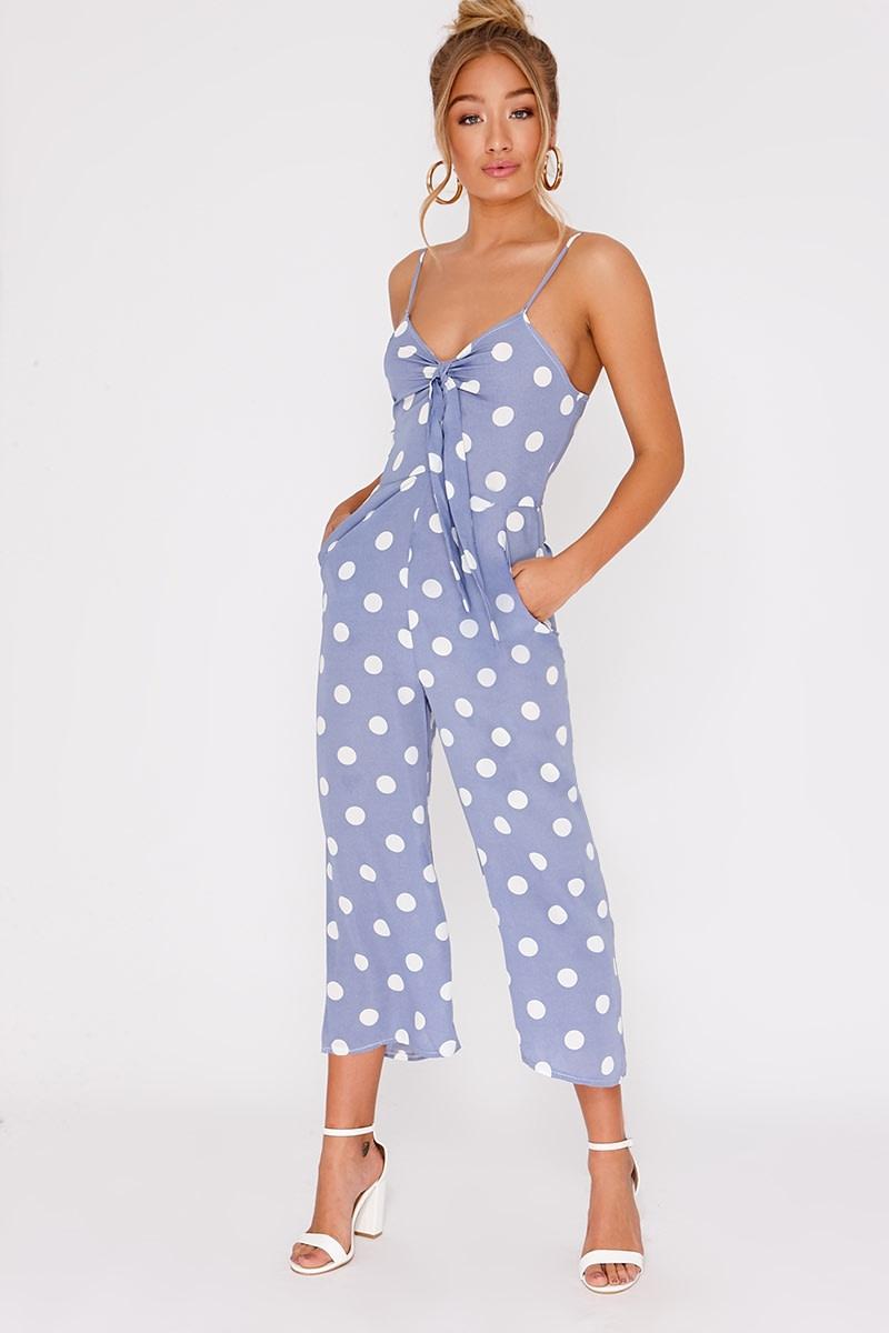 a1bda3a6f24 Iesha Blue Polka Dot Tie Front Culotte Jumpsuit