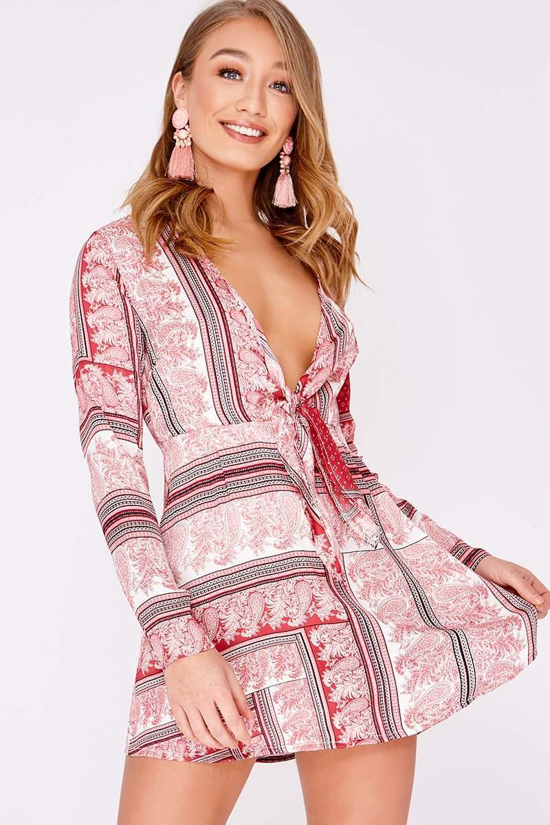 4a2fd3e0621 Devin Pink Scarf Print Silky Tie Front Dress