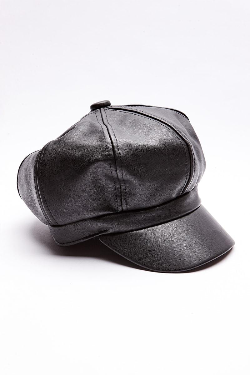 b5125204064 Black Pu Baker Boy Hat