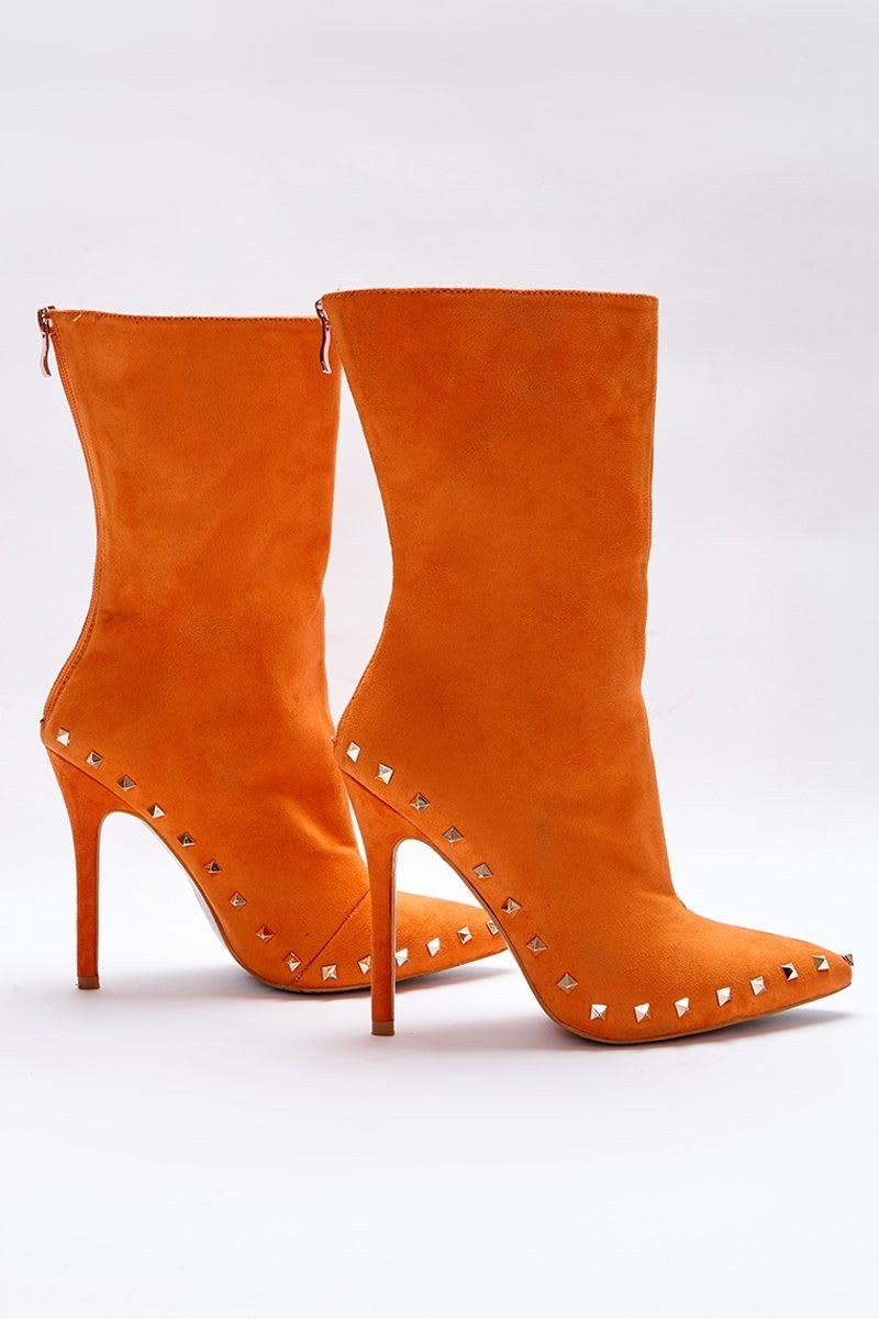 635c2404d350b Sarah Ashcroft Orange Faux Suede Studded Sole Ankle Boots In The Style