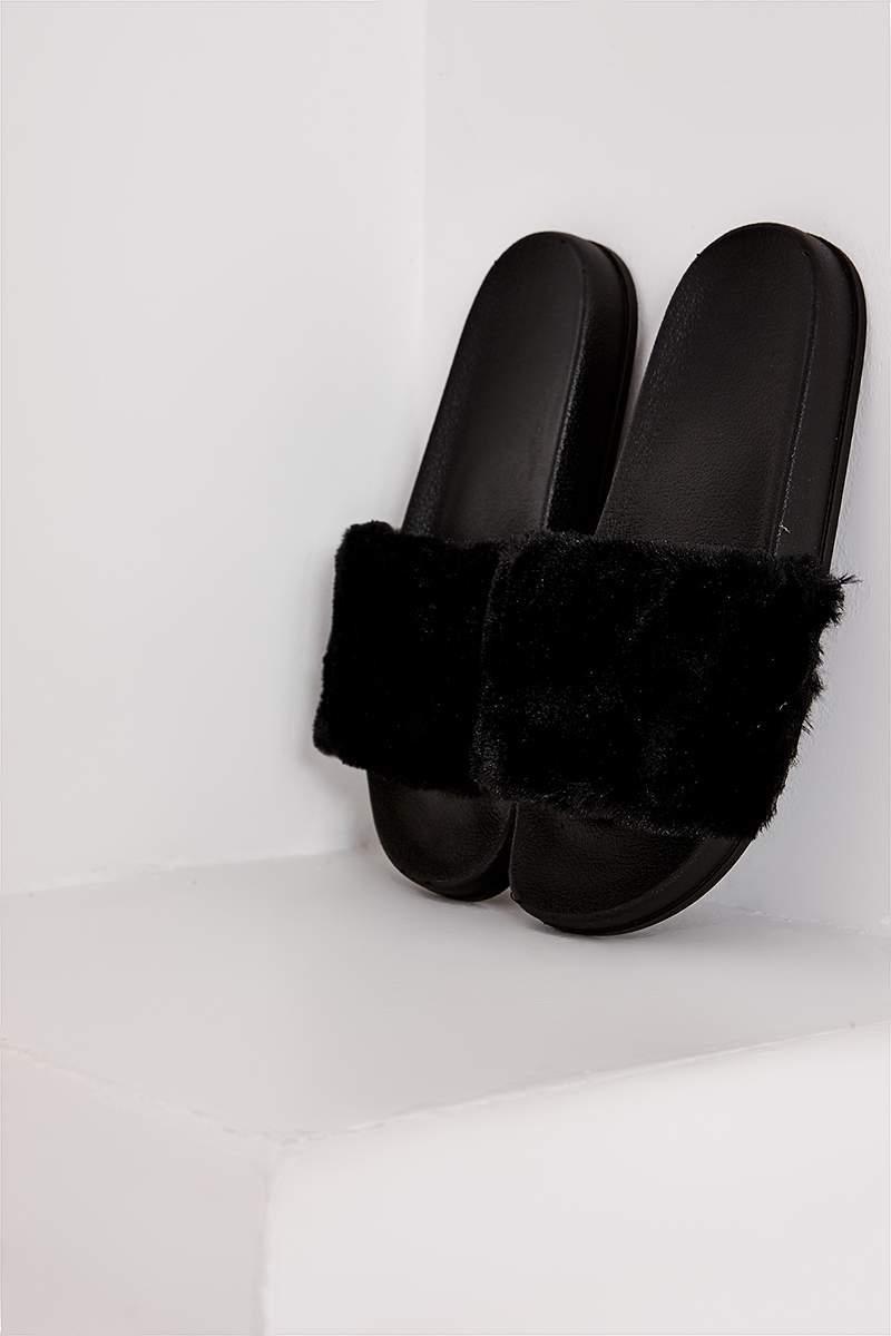 037f40c86dc6 Stormi Black Faux Fur Sliders