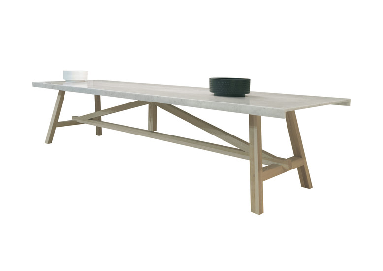 Achille: Table L 300 cm D 110 cm H 74 cm with top in Carrara marble