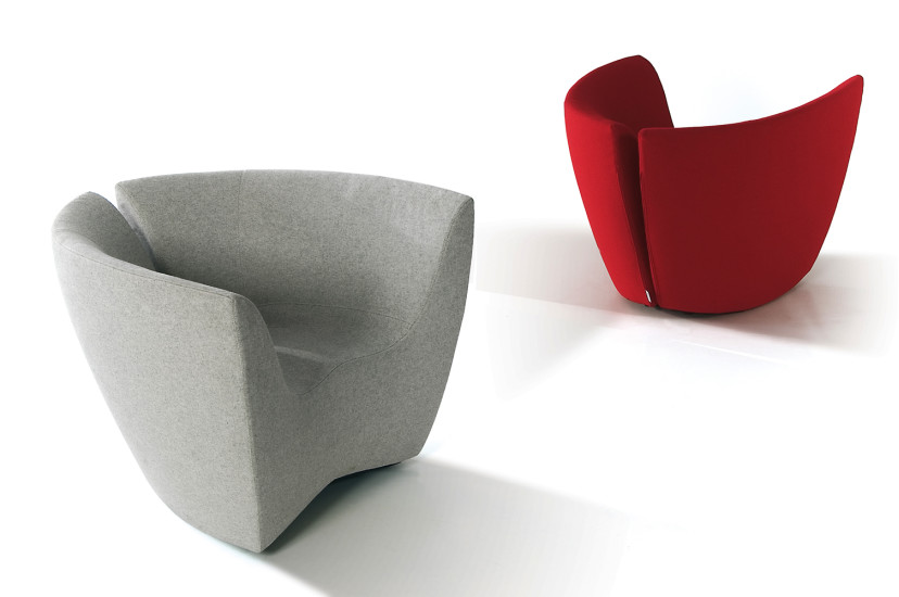 Apple - Elastic Fabric: Rocking armchair upholstered in elastic fabric
