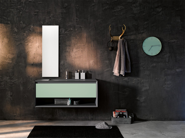 Iks Full: Unit with integrated washbasin and open compartment L 90-105-120 cm H 50 cm, structure in Fenix NTM