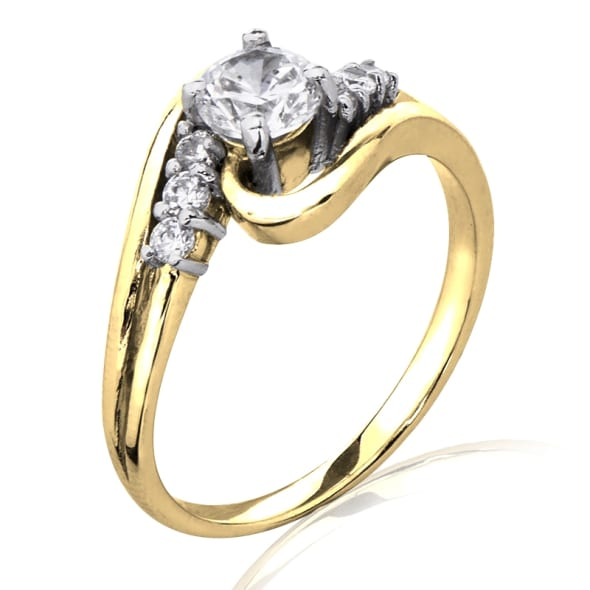 18K Gold and 0.70 Carat F Color VS2 Clarity EX/EX/EX GIA Certified Diamond Ring