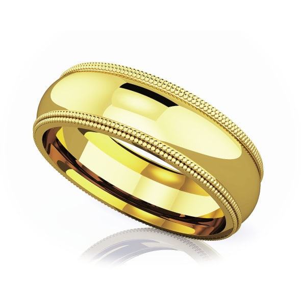 แหวนทอง - 18K 6 mm Double milgrain domed romantic classic band