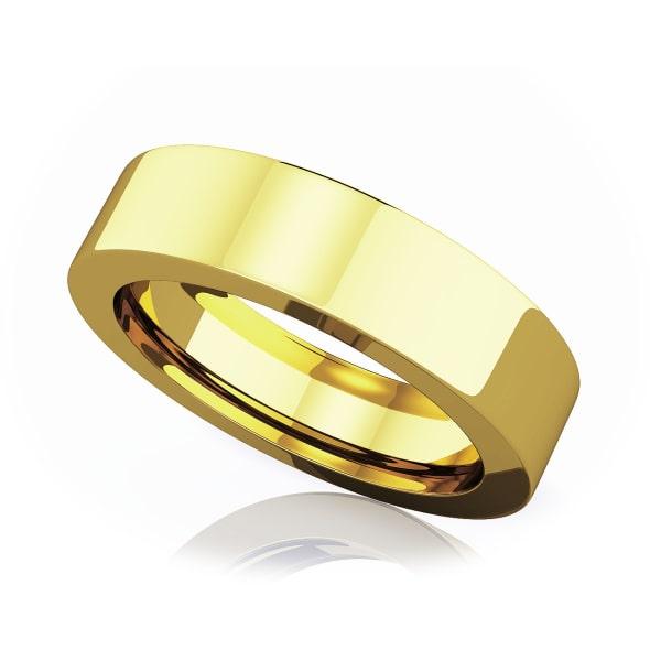 แหวนทอง - 18K 5 mm Flat comfort fit classic band