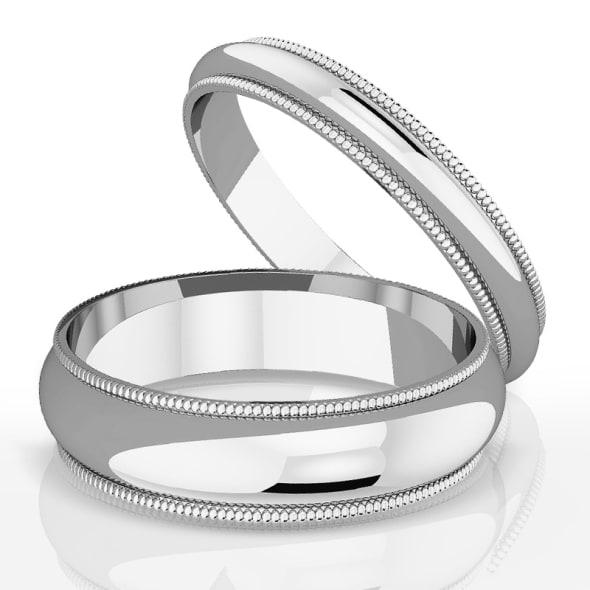 แหวนคู่รักทอง 18K 3 mm และ 5 mm Milgrain edge romantic classic band