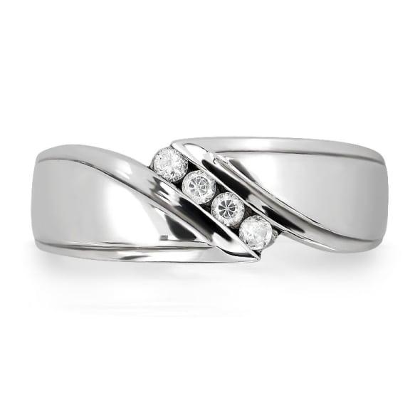 แหวนหมั้นชาย ทอง 18K ประดับเพชร น้ำหนักรวม 0.10 กะรัต ค่าสี F ค่าความสะอาด VS