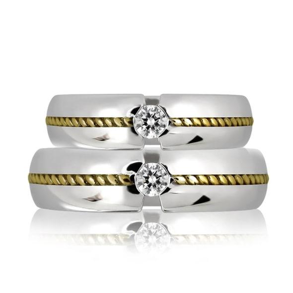 แหวนคู่รักทอง 18K ประัดับเพชร น้ำหนกรวม 0.40 กะรัต ค่าสี G ค่าความสะอาด VS