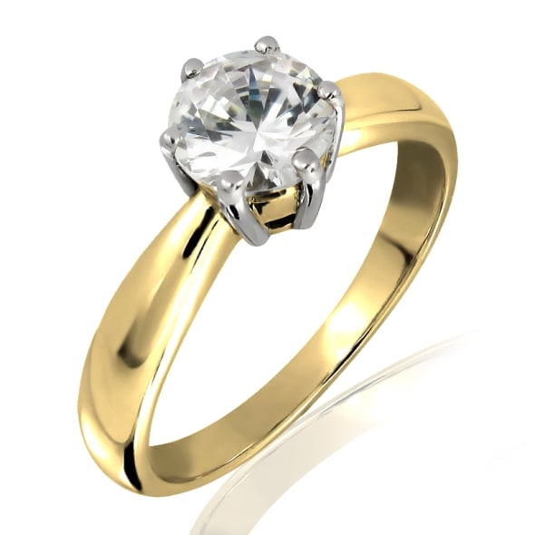 แหวนทอง 18K ประดับเพชร น้ำหนักรวม 0.50 กะรัต ค่าสี E ค่าความสะอาด VVS1 EX/EX/EX เพชรมาพร้อมใบรับรองจากสถาบัน GIA