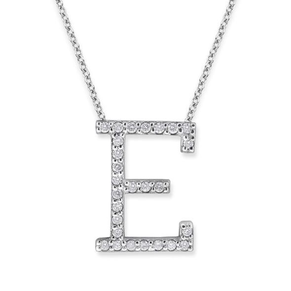 จี้ทอง 18K ประดับเพชร น้ำหนักรวม 0.27 กะรัต ค่าสี F ค่าความสะอาด VS จี้อักษร E มาพร้อมสร้อยคอ 16 นิ้ว