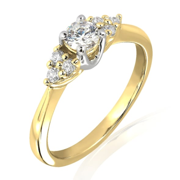 18K Gold and 0.30 Carat E Color VS Clarity Diamond Ring