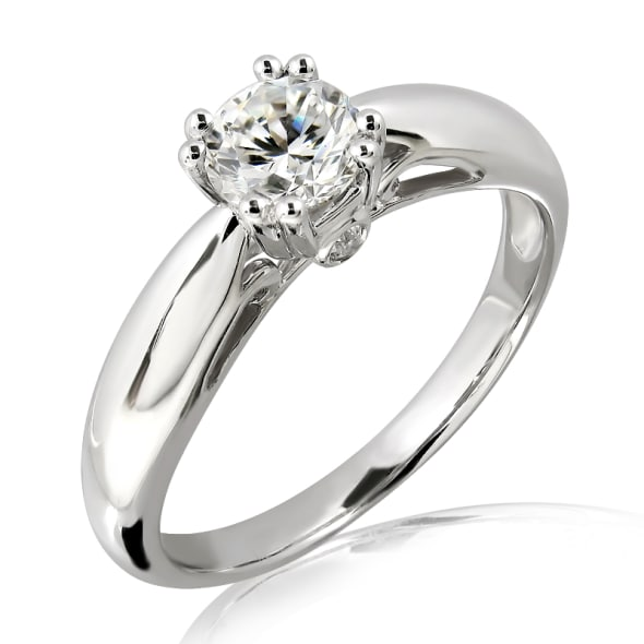 แหวนทอง 18K ประดับเพชร น้ำหนักรวม 0.32 กะรัต ค่าสี D ค่าความสะอาด VVS2 EX/EX/EX เพชรมาพร้อมใบรับรองจาก GIA
