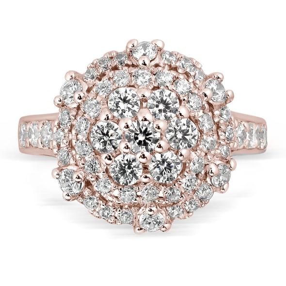 แหวนทอง 18K Rose Gold ประดับเพชร น้ำหนักรวม 1.00 กะรัต ค่าสี E ค่าความสะอาด VS1